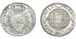 331  -  MONEDAS EXTRANJERAS. BRASIL. 960 Reis. 1820. Reacuñados sobre 8 reales, posiblemente de 1819, de Lima (JP). KM-326.1. MBC+/MBC.