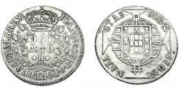 332  -  MONEDAS EXTRANJERAS. BRASIL. 960 Reis. 1820 (R). Reacuñados sobre 8 reales, sin datos visibles. KM-326.1. MBC-.
