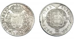 333  -  MONEDAS EXTRANJERAS. BRASIL. 960 Reis. 1821 (R). Reacuñados sobre 8 reales de Carlos IV, busto visible, posiblemente acuñados en México. EBC-/MBC.