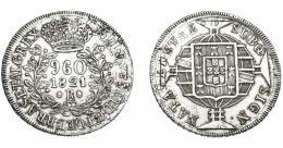 334  -  MONEDAS EXTRANJERAS. BRASIL. 960 Reis. 1821 (R). Reacuñados sobre peso de Chile, tipo volcán y columna. KM-326.1. MBC- Muy escasa.