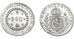 335  -  MONEDAS EXTRANJERAS. BRASIL. 960 Reis. 1823 (R). Reacuñados sobre 8 reales de Fernando VII de Lima (JP). Km- 368.1. MBc.