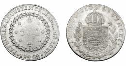 336  -  MONEDAS EXTRANJERAS. BRASIL. 960 Reis. 1825 (R). Reacuñados sobre 8 reales de Fernando VII, posiblemente de Potosí. KM- 368.1. MBC.