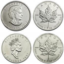 338  -  MONEDAS EXTRANJERAS. CANADÁ. Lote 2 piezas de 5 dólares. 1977 y 2012. SC.