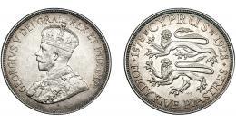 341  -  MONEDAS EXTRANJERAS. CHIPRE. 45 Piastras. 1928. KM-19. EBC.