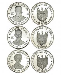 342  -  MONEDAS EXTRANJERAS. CUBA. Lote de 3 monedas de 20 pesos de 1977. I. Agramonte, M. Gómez y A. Macao. KM-38,39 y 40. Prueba.