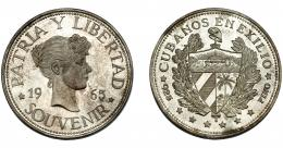 343  -  MONEDAS EXTRANJERAS. CUBA. Souvenir. Cubanos en el exilio. 1965. Canto liso. KM- XM5. Prueba.