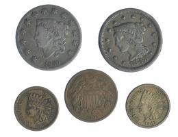 344  -  MONEDAS EXTRANJERAS. ESTADOS UNIDOS. Lote de 5 monedas de 1 centavo (4) de 1830,1848,1859,1863; y de 2 centavos de 1864. BC+/MBC+.