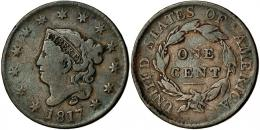 345  -  MONEDAS EXTRANJERAS. ESTADOS UNIDOS. Centavo. 1817. 13 estrellas. BC+.
