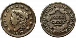 346  -  MONEDAS EXTRANJERAS. ESTADOS UNIDOS. Centavo. 1827. KM-45. BC+.
