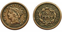 348  -  MONEDAS EXTRANJERAS. ESTADOS UNIDOS. Centavo. 1847. KM-67. BC+.