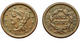 350  -  MONEDAS EXTRANJERAS. ESTADOS UNIDOS. Centavo. 1851. KM-67. BC+.