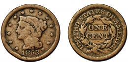 351  -  MONEDAS EXTRANJERAS. ESTADOS UNIDOS. Centavo. 1853. KM-67. BC.