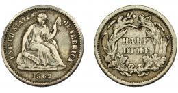 353  -  MONEDAS EXTRANJERAS. ESTADOS UNIDOS.  1/2 dime. 1862. KM-91. Bc+.