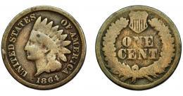 354  -  MONEDAS EXTRANJERAS. ESTADOS UNIDOS. Centavo. 1864. KM-87. BC-.