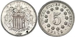355  -  MONEDAS EXTRANJERAS. ESTADOS UNIDOS. 5 centavos. 1867. Pequeñas marcas. EBC-.
