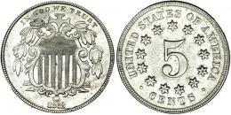 356  -  MONEDAS EXTRANJERAS. ESTADOS UNIDOS. 5 centavos. 1868. EBC-.