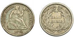 357  -  MONEDAS EXTRANJERAS. ESTADOS UNIDOS.  1/2 dime. 1872. KM-91. MBC-.