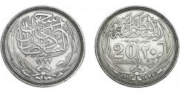 365  -  MONEDAS EXTRANJERAS. EGIPTO. 20 Piastras. 1916. KM-321. MBC+.