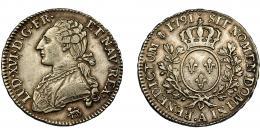 367  -  MONEDAS EXTRANJERAS. FRANCIA. Luis XVI. 1/ ecu. 1791. París. KM-562.1. MBc.