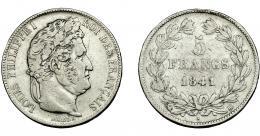 368  -  MONEDAS EXTRANJERAS. FRANCIA. 5 Francos. 1841. BB. Marcas. MBC-.