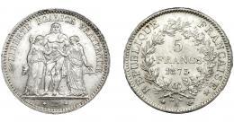 369  -  MONEDAS EXTRANJERAS. FRANCIA. 5 Francos. 1873, KM- 820.1. Pequeñas marcas. B.O. EBC.