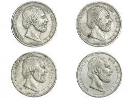 371  -  MONEDAS EXTRANJERAS. HOLANDA. Lote de 4 monedas de 2 1/2 gulden. 1869, 1872, 1873 y 1874. MBC/MBC+.