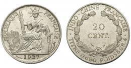 372  -  MONEDAS EXTRANJERAS. INDOCHINA FRANCESA. 20 centavos. 1937. MBC+.