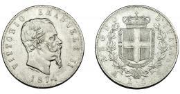 373  -  MONEDAS EXTRANJERAS. ITALIA. Víctor Manuel II. 5 liras. 1874. Milán. KM-8.3. MBC.