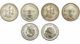 377  -  MONEDAS EXTRANJERAS. MÉXICO.  Lote de 3 monedas. 5 pesos (1947) y 2 onzas troy (1979). EBC/SC.