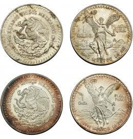 378  -  MONEDAS EXTRANJERAS. MÉXICO.  Lote de 2 monedas. Onzas de 1990 y 1993. SC.