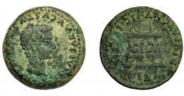 38  -  HISPANIA ANTIGUA. ITALICA. Tiberio. As. A/ Cabeza a der. R/ Altar con ley. PROVIDE/NTIAE/AVGVSTI. AE 13,15 g. 23 mm. I-1593. APRH-65. ACIP-3333. Pátina verde terrosa. BC+.