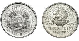 382  -  MONEDAS EXTRANJERAS. MÉXICO. 5 Pesos. 1950. Ciudad de México. KM-466. EBC.