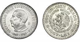 383  -  MONEDAS EXTRANJERAS. MÉXICO. 10 Pesos. 1957. Ciudad de México. KM-475. EBC.