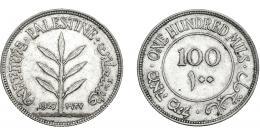 384  -  MONEDAS EXTRANJERAS. PALESTINA. 100 Mils. 1927. KM-7. EBC.
