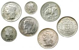 385  -  MONEDAS EXTRANJERAS. PORTUGAL. Lote de 7 monedas: 10 centavos, 1915; 10 de 1913; 50 de 1914 y 1916; 10 escudos 1928. De EBC- a SC.