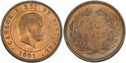 387  -  MONEDAS EXTRANJERAS.PORTUGAL. 20 reis. 1891. KM-533. B.O. EBC+.
