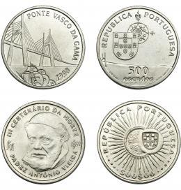 388  -  MONEDAS EXTRANJERAS. PORTUGAL. Lote de 2 monedas. 500 escudos. 1997 y 1998. SC.
