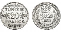 389  -  MONEDAS EXTRANJERAS. TÚNEZ. 20 Francos. 1358H. KM-266. EBC.
