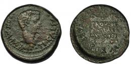 39  -  HISPANIA ANTIGUA. ITALICA. Tiberio. As. A/ Cabeza a izq. R/ Altar con ley.; PROVIDE/NTIAE/ AVGVSTI. AE 15,94 g. 29,5 mm. I-1593. APRH-65. ACIP-3333. Algo descentrada. Pátina oscura. BC+.
