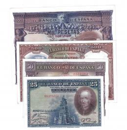 396  -  BILLETES ESPAÑOLES. BANCO DE ESPAÑA. Lote de 4  billetes. 25 Pesetas 8-1928; 50 pesetas 7-1935; 500 pesetas 4-1931; 1000 pesetas 7-1925. El primero con una pequeña arruga. SC.