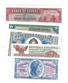 397  -  BILLETES ESPAÑOLES. BANCO DE ESPAÑA. Lote de 5 billetes de la República.1935-1937.50 céntimos, 1, 2, 5 y 10 pesetas SC.
