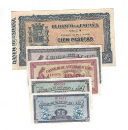 398  -  BILLETES ESPAÑOLES. BANCO DE ESPAÑA. Lote cinco billetes de Asturias y León. Sin firma. 25 céntimos, 40 céntimos, 1 peseta, 2 pesetas y  100 pesetas. B. E en Gijón. 9-1937. SC.