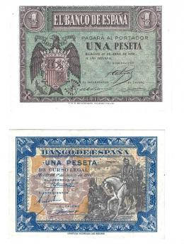 399  -  BILLETES ESPAÑOLES. BANCO DE ESPAÑA. Lote de 2 billetes de 1 peseta del 4-1938 Serie H; y del 6-1940, Serie D. ED-D-29a y 42a. SC.