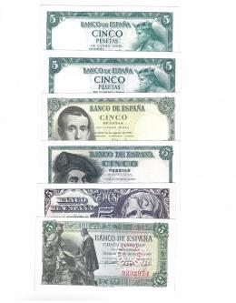 401  -  BILLETES ESPAÑOLES. BANCO DE ESPAÑA. Lote de 6 billetes de 5 ptas sin serie. 6-1945 ED-D50 ; 4-1947 ED-D55; 3-1948 ED-D56; 8-1951 ED- D60; 7-1954(2) ED- D67.  SC.