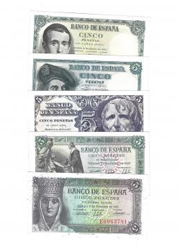 402  -  BILLETES ESPAÑOLES. BANCO DE ESPAÑA. Lote de 5 billetes de 5 ptas. 2-1943 Serie E; 6- 1945 Serie D; 4-1947 Serie A; 3-1948 Serie E; 8-1951 Serie G. ED- D47a, 50a, 55a, 56a, 60a. SC.