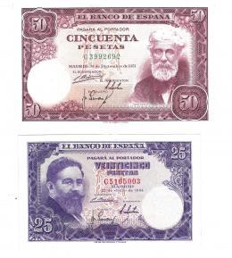 403  -  BILLETES ESPAÑOLES. BANCO DE ESPAÑA. Lote de 2 billetes de 50 ptas. del 12-1951 y 25 ptas. 7-1954.  Serie C.  SC.