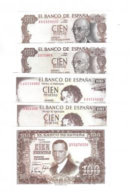 404  -  BILLETES ESPAÑOLES. BANCO DE ESPAÑA. Lote de 5 billetes de 100 ptas. 4-1953 Serie 2Y, 11-1965 (2), sin serie y Serie 1J; y 11-1970 (2), sin serie y Serie 4R. ED- D72 y 72a. SC