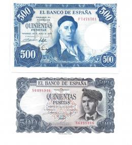 405  -  BILLETES ESPAÑOLES. BANCO DE ESPAÑA. Lote de 2 billetes de 500 ptas. 7-1954 Serie F y 7-1971 Serie S. Ligeras arrugas en el primero. SC.