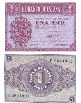 408  -  BILLETES ESPAÑOLES. BANCO DE ESPAÑA. 1 Peseta. 10-1937. Serie E. ED-D26a. S.C.