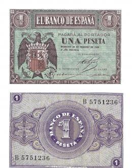 409  -  BILLETES ESPAÑOLES. BANCO DE ESPAÑA. 1 Peseta. 2-1938. Serie B. ED-28a. S.C.